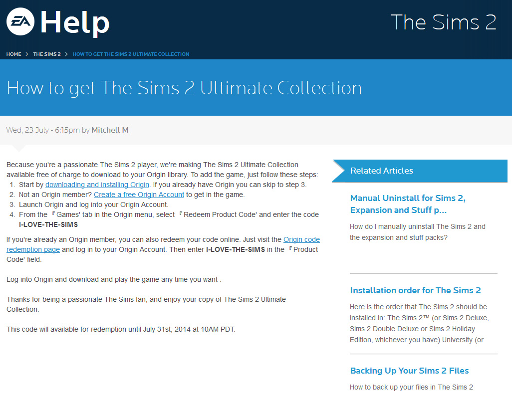 sims 2 product code