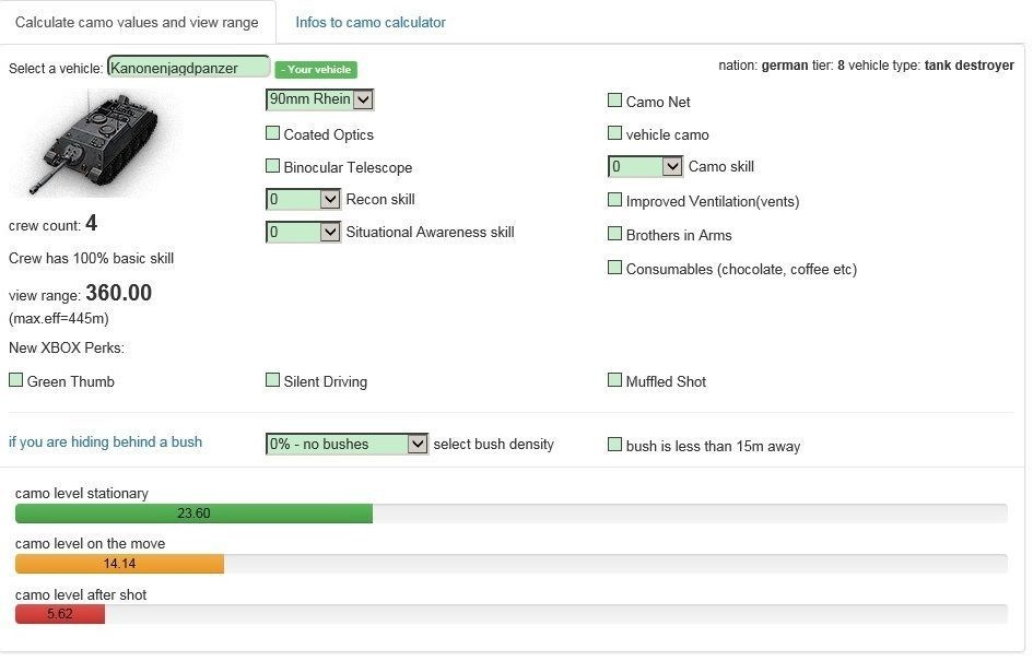 WOTINFO Camo values and view range calculator  | ecigcullect cf